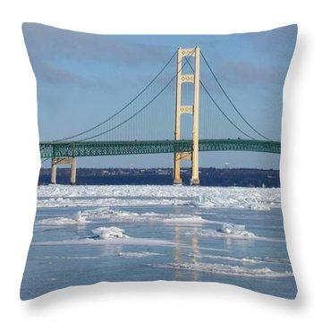 Wintery Bridge Throw Pillow