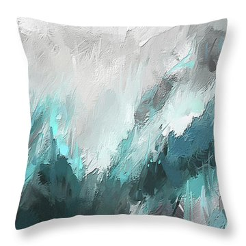 Throw Pillow featuring the painting Wintery Mountain- Turquoise And Gray Modern Artwork by Lourry Legarde