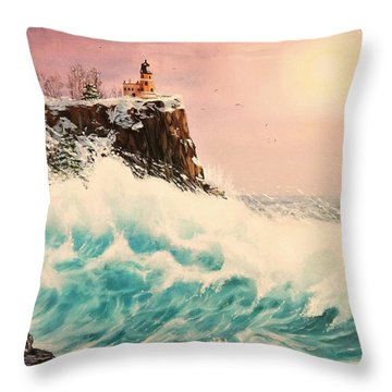 Wintery Northern Lighthouse  Throw Pillow