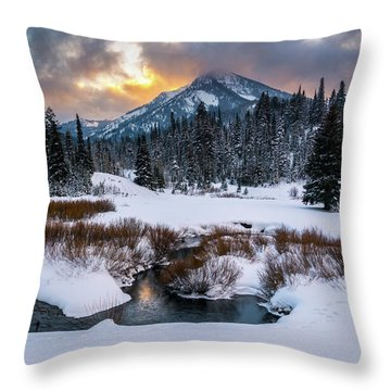 Wintery Wasatch Sunset Throw Pillow