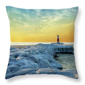 Wintry River Channel Throw Pillow