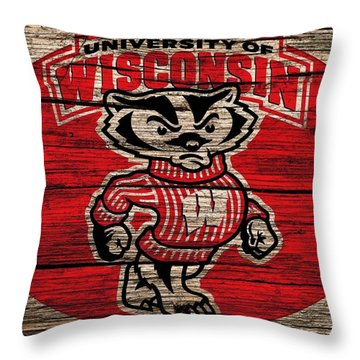 Wisconsin Badgers Barn Door Throw Pillow