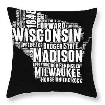 Wisconsin Black And White Word Cloud Map Throw Pillow