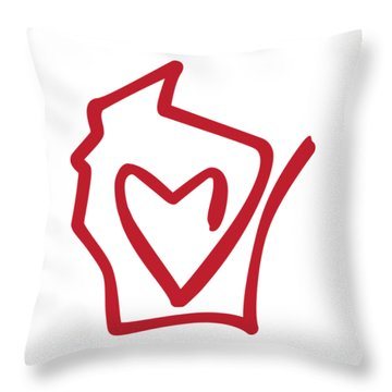 Wisconsin Love Throw Pillow