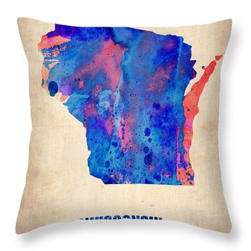 Wisconsin Watercolor Map Throw Pillow by Naxart Studio