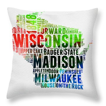 Wisconsin Watercolor Word Cloud Map  Throw Pillow