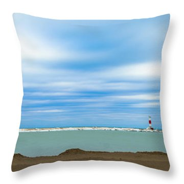 Wisconsin Winter Lakefront Throw Pillow