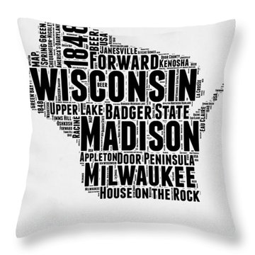 Wisconsin Word Cloud Map 2 Throw Pillow