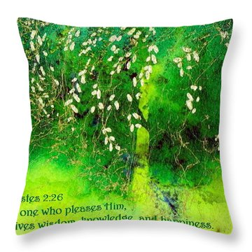 Wisdom Knowledge And Happiness Throw Pillow by Anne Duke