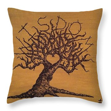 Throw Pillow featuring the drawing Wisdom Love Tree by Aaron Bombalicki