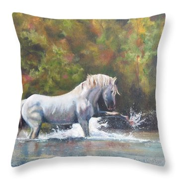 Throw Pillow featuring the painting Wisdom Of The Wild by Karen Kennedy Chatham