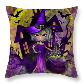 Wisdom Witch Fantasy Art Throw Pillow