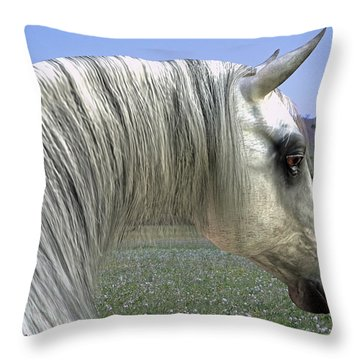 Wise Grey Mare Throw Pillow
