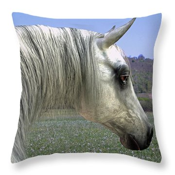 Throw Pillow featuring the digital art Wise Grey Mare by Jayne Wilson