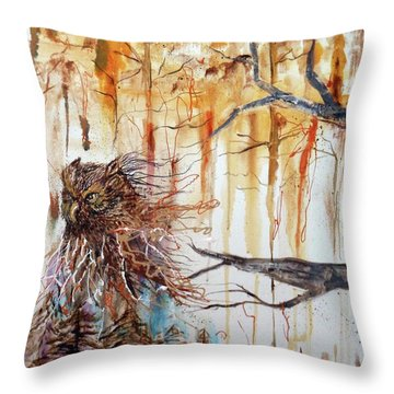 Wise Guardian Of The Forest Throw Pillow