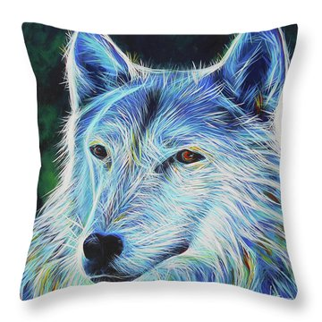 Wise White Wolf Throw Pillow