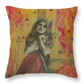 Throw Pillow featuring the mixed media Wish Upon A Star by Desiree Paquette