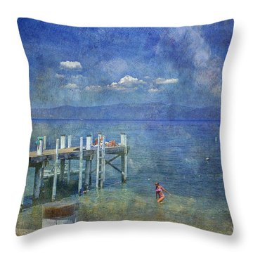 Throw Pillow featuring the photograph Wish You Were Here Chambers Landing Lake Tahoe Ca by David Zanzinger