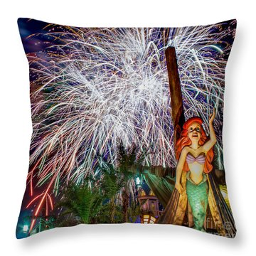 Wishes Over Prince Eric's Castle Throw Pillow
