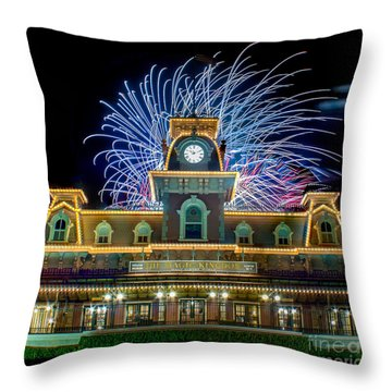 Wishes Over Magic Kingdom Train Station. Throw Pillow