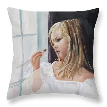 Throw Pillow featuring the painting Wishful Thinking - Megan - Signed by Jan Dappen