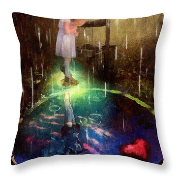 Wishing Well Throw Pillow by Mo T