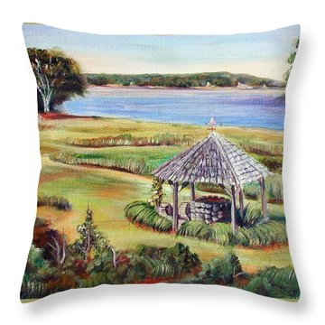 Wishing Well Throw Pillow by Patricia Piffath
