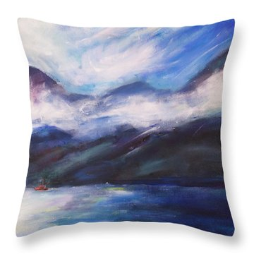 Throw Pillow featuring the painting Wispy Clouds by Yulia Kazansky