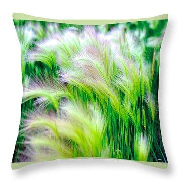 Wispy Green Throw Pillow