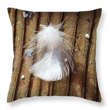 Wispy White Feather Throw Pillow