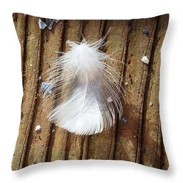 Wispy White Feather Throw Pillow by Ann Michelle Swadener