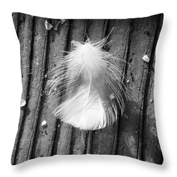 Wispy White Feather In Black And White Throw Pillow by Ann Michelle Swadener