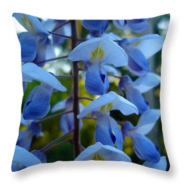 Wisteria - Blue Hooded Ladies Throw Pillow