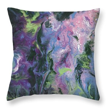 Throw Pillow featuring the painting Wisteria Abstract by Jamie Frier