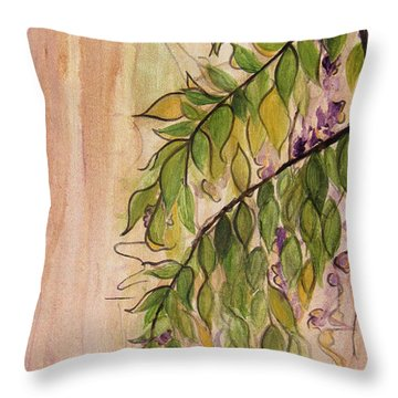 Wisteria  Throw Pillow by Carrie Jackson