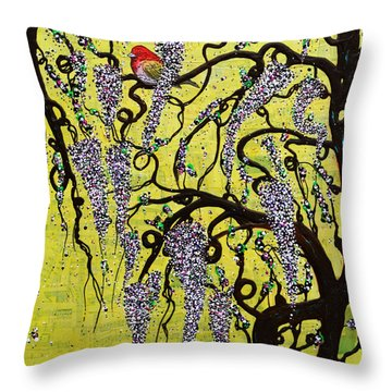 Throw Pillow featuring the mixed media Wisteria Delight by Natalie Briney