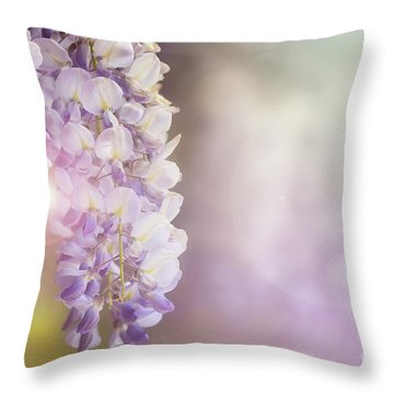 Wisteria Flowers In Sunlight Throw Pillow