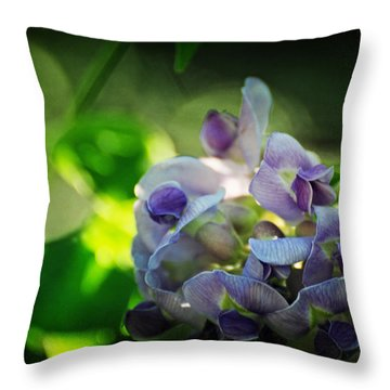 Wisteria Frutescens Amethyst Falls Throw Pillow