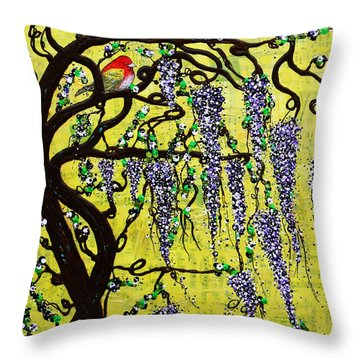 Throw Pillow featuring the mixed media Wisteria Joy by Natalie Briney