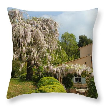 Throw Pillow featuring the photograph Wisteria by Richard Patmore