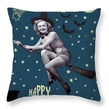 Witch Fly In Broom Throw Pillow