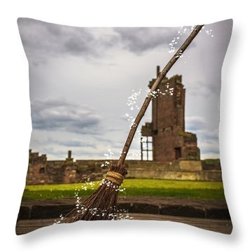 Witches Broom Throw Pillow
