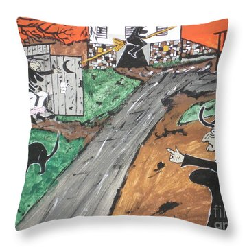 Witches Outhouse Throw Pillow