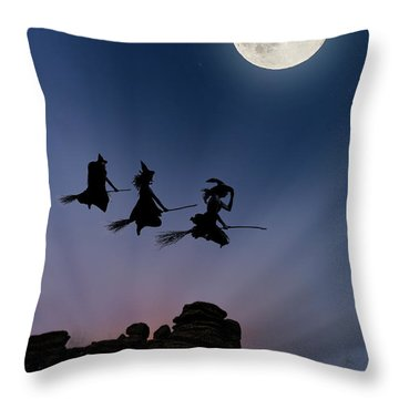 Witches Over Combstone Tor Throw Pillow