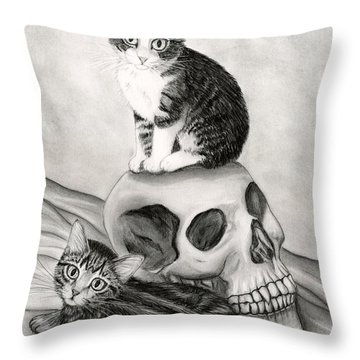 Witch's Kittens Throw Pillow