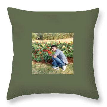 With D Lap Of Nature Throw Pillow by Madhusudan Bishnoi