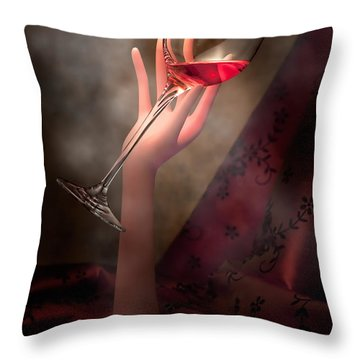With Glass In Hand Throw Pillow