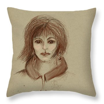 With Short Hair Throw Pillow by Angela A Stanton