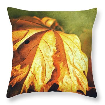 Throw Pillow featuring the photograph Withered Leaves by Silvia Ganora