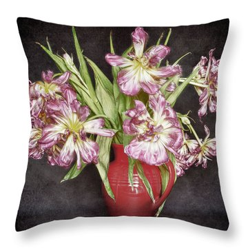 Withered Tulips Throw Pillow